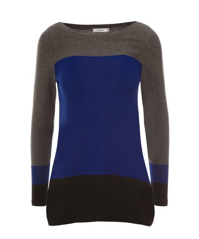 A-Line Pullover, Black/Blue/Grey, hi-res