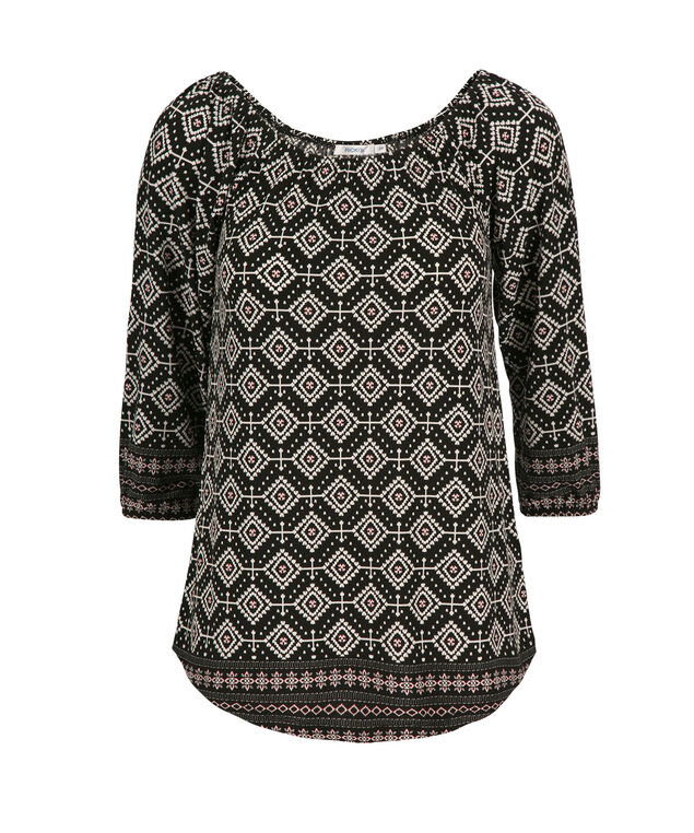 3/4 Off The Shoulder, Black Pattern, hi-res