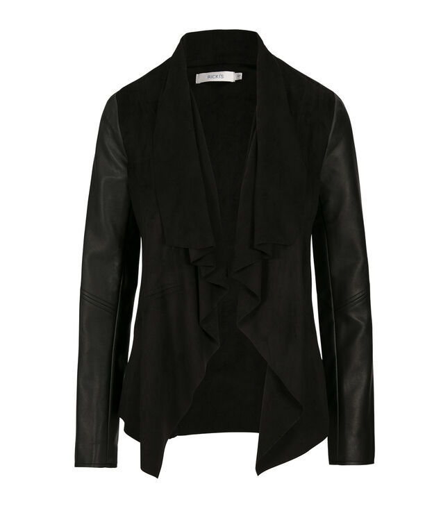 Suede Drape Front Blazer, Black, hi-res