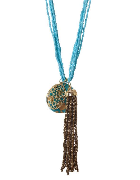 Turquoise Stone Tassel Necklace, Turquoise, hi-res