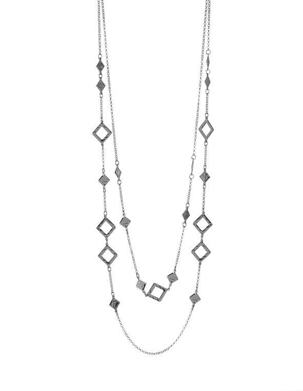 Long Duo-Layer Rhodium Necklace, Rhodium, hi-res