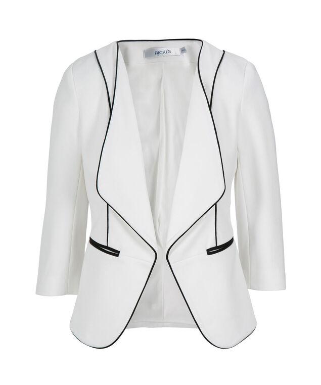 Knit Drape Front Blazer, Milkshake, hi-res