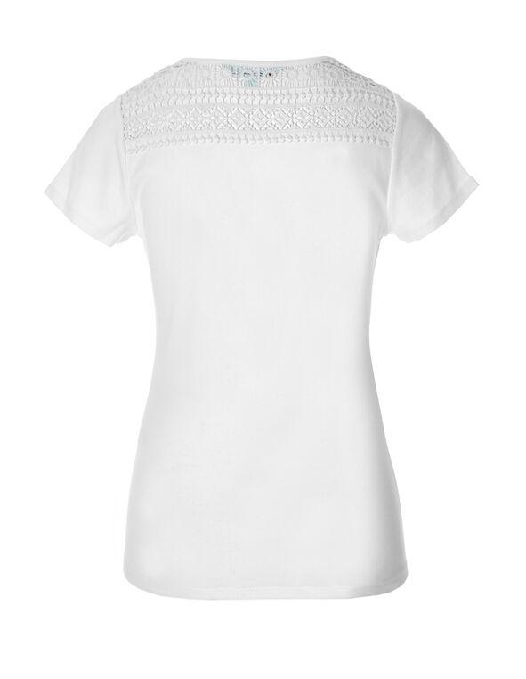 White Crisscross Crochet Tee, White, hi-res
