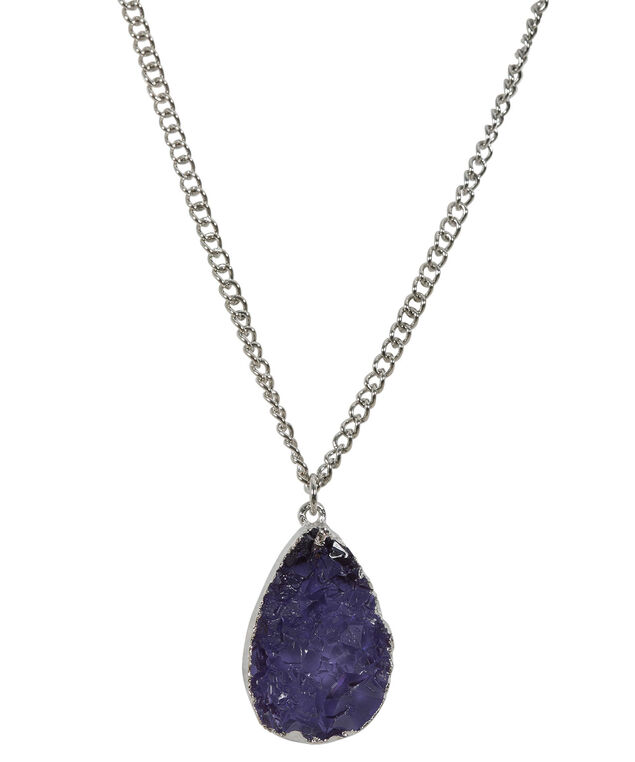 Druzy Stone Pendant, Mauve/Hematite, hi-res