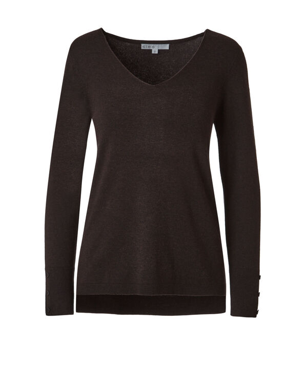 Dark Brown V-Neck Sweater, Dark Brown, hi-res