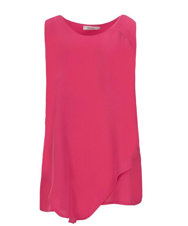 Asymmetrical Hem Blouse, Pink, hi-res