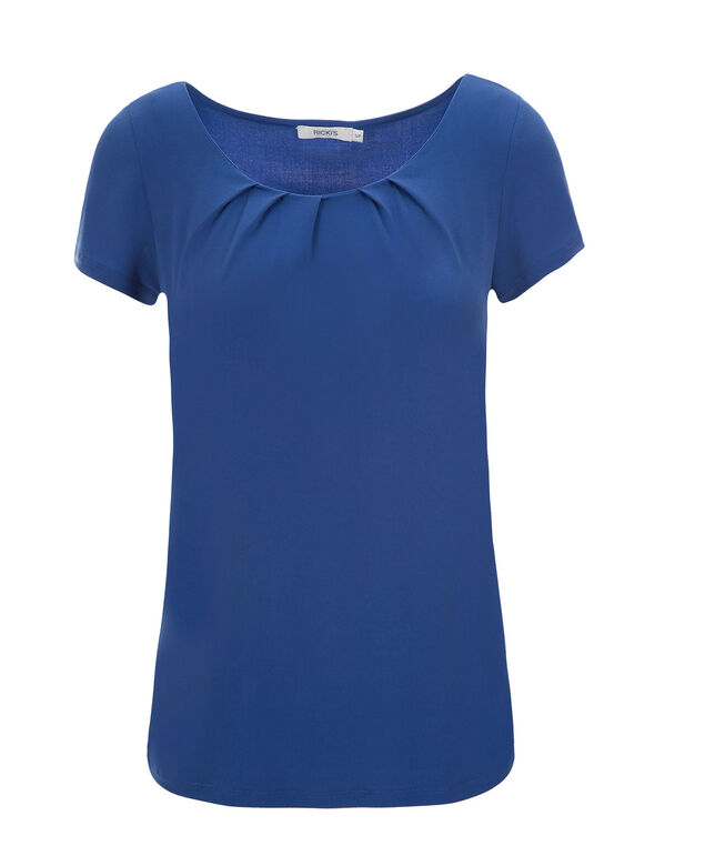 Short Sleeve Pleat Tee, Sapphire, hi-res