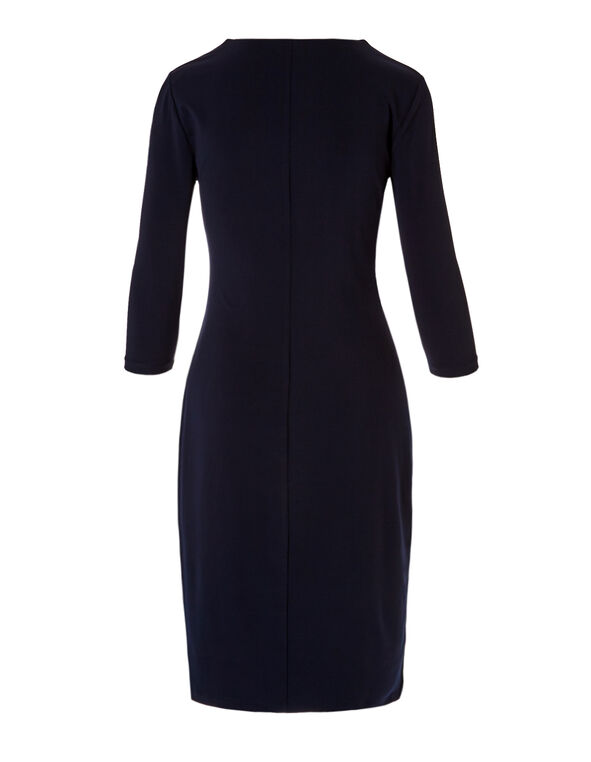 Navy Faux Wrap Shift Dress, Navy, hi-res