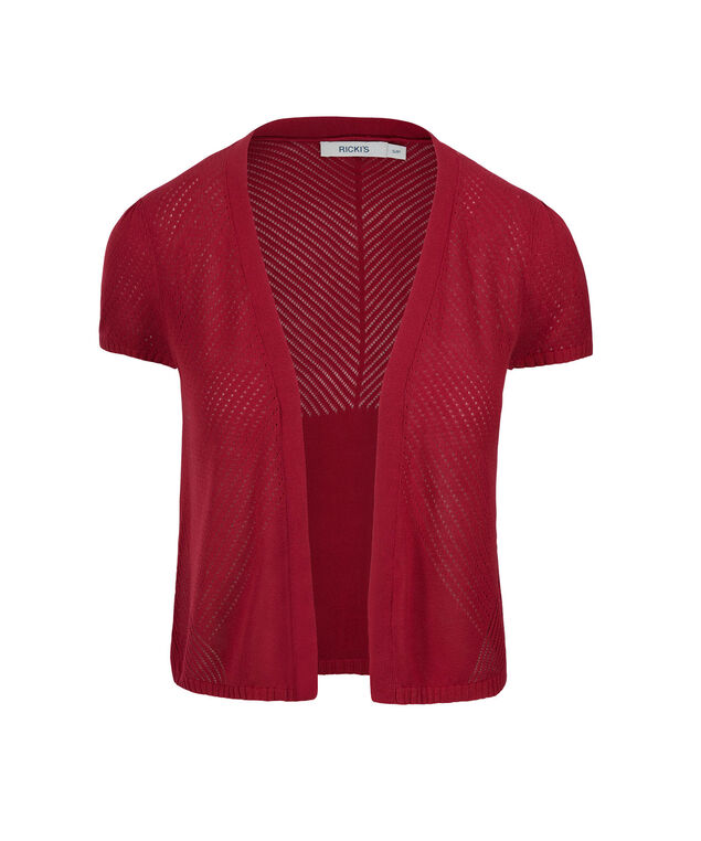 Pointelle Open Shrug, Poppy Red, hi-res