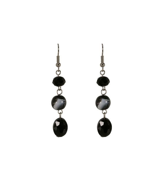 Swirl Bead Earring, Black/Grey/Rhodium, hi-res