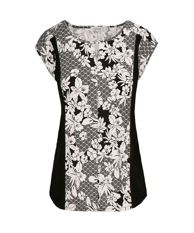 Puff Print Short Sleeve Top, Neutral Print, hi-res