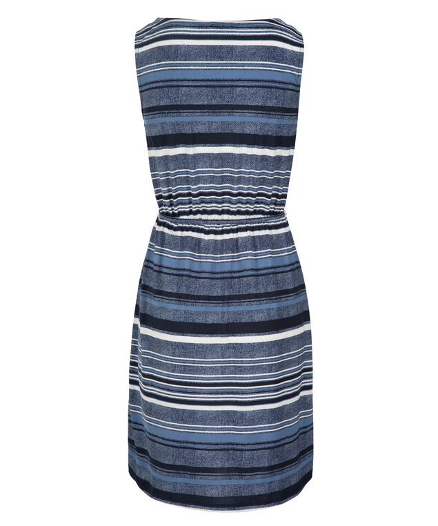 Indigo Striped Knit Dress, Blue Print, hi-res