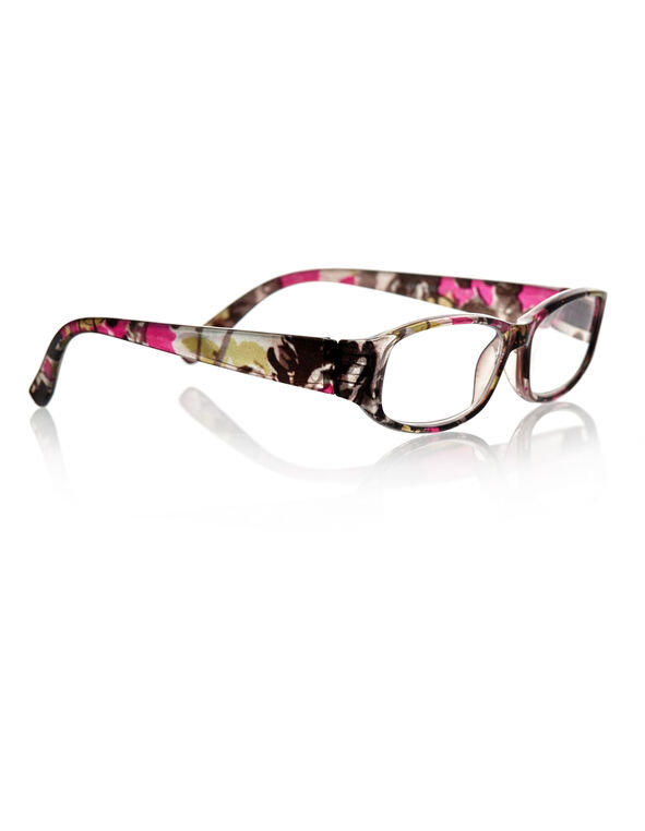 Black Floral Print Readers, Black, hi-res