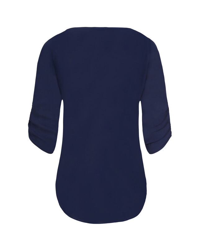 3/4 Ruched Sleeve Henley, Navy, hi-res