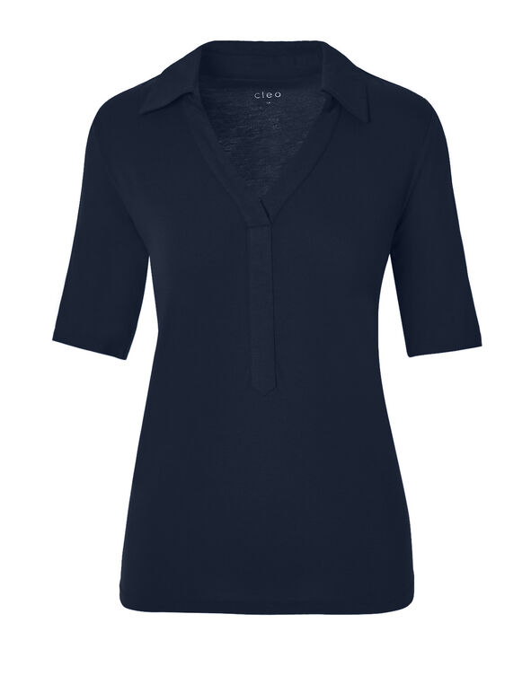 Navy Collared V-Neck Tee, Navy, hi-res