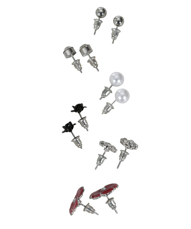 Poppy Floral Earring Set, Red/Black/White/Rhodium, hi-res