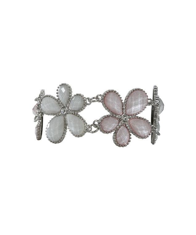 Gem Flower Bracelet, Pink Blush/Rhodium, hi-res