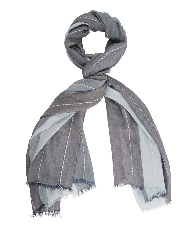 Colourblock Stripe Scarf, Navy/Light Blue, hi-res