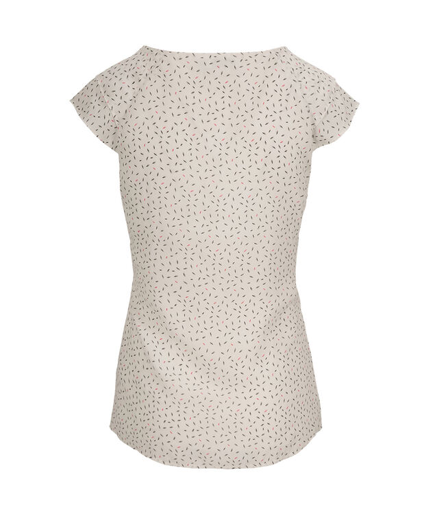 Flutter Sleeve Pintuck Blouse, Milkshake Print, hi-res