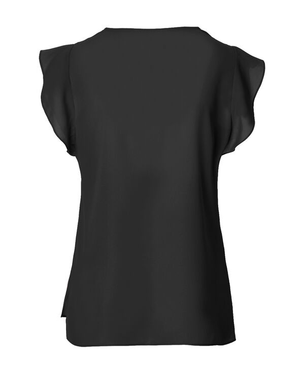 Black Flutter Sleeve Blouse, Black, hi-res