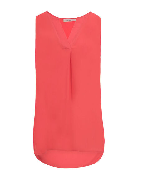 Sleeveless Henley  Blouse, Coral, hi-res