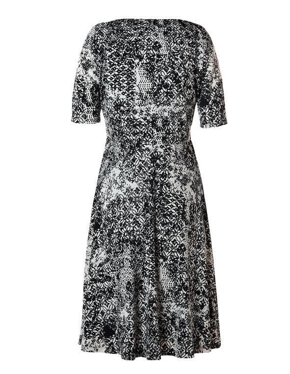 Mix Print Fit and Flare Dress, Latte/Black, hi-res