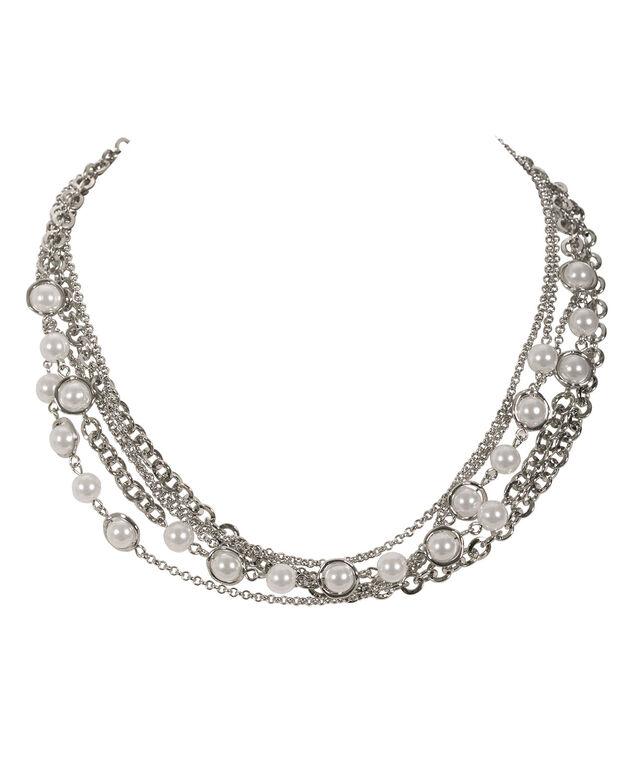 Multi Chain Pearl Necklace, White/Rhodium, hi-res