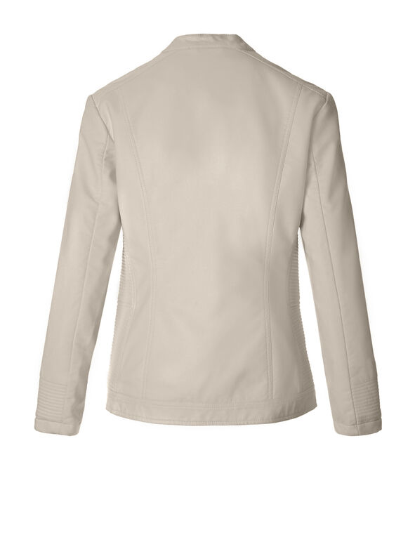 Stone Ribbed Pleather Jacket, Stone, hi-res