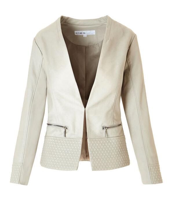 Diamond Stitch Pleather Jacket, Bone, hi-res