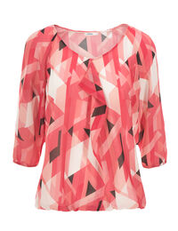 3/4 Sleeve Ruffle Front Blouse