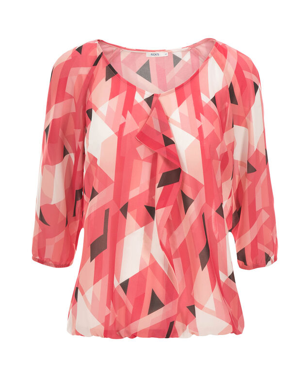3/4 Sleeve Ruffle Front Blouse, Coral Print, hi-res