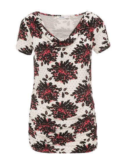 Lace Insert Cowl Top, Milkshake/Coral Print, hi-res