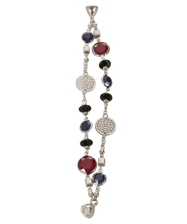 Dual Row Filigree Bracelet, Deep Red/Blue/Rhodium, hi-res
