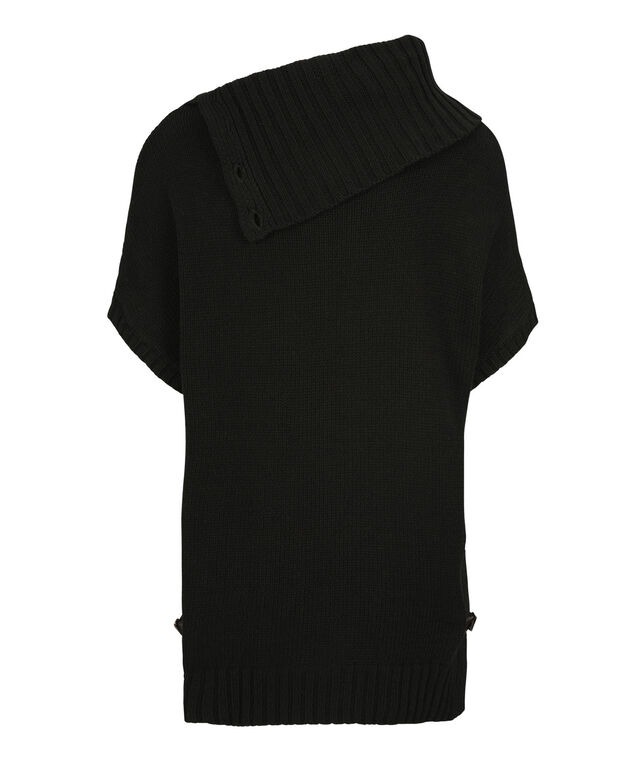 Button Cowl Cable Sweater, Black, hi-res