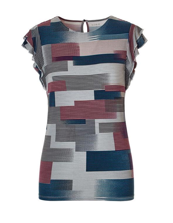 Navy Stripe Flutter Sleeve Tee, Navy/Pink Sand/Claret/Grey, hi-res