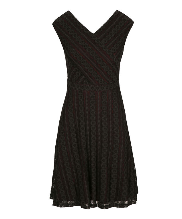Lace Fit & Flare Dress, Black/Burgundy, hi-res