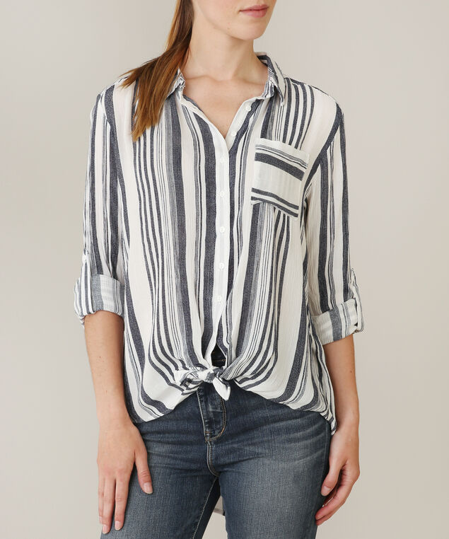 striped blouse - wb, BLUE STRIPE, hi-res