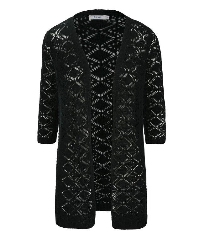 3/4 Sleeve Crochet Cardi, Black, hi-res