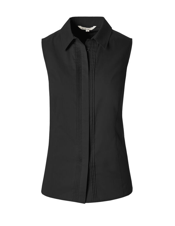 Black Collared Button Blouse, Black, hi-res
