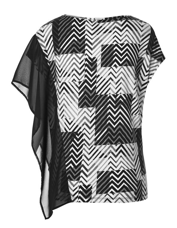 Zig Zag Chiffon Sleeve Top, Black/White, hi-res