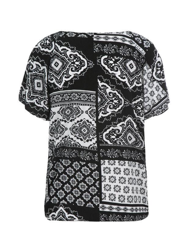 Short Sleeve Beaded Tee, Black/Milkshake Print, hi-res
