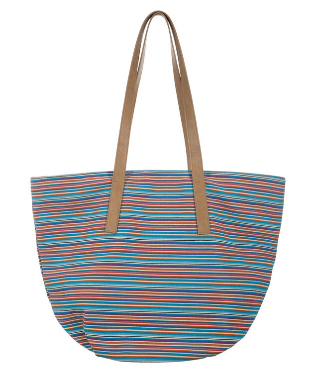 Striped Tote Bag, Pink/Blue/Brown, hi-res