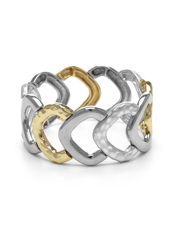 2 Tone Circle Stretch Bracelet, Rhodium/Gold, hi-res