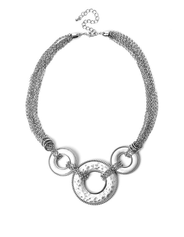 Short Silver Circle Necklace, Silver, hi-res