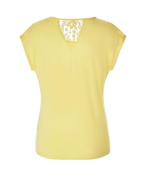 Yellow Crochet Trim Tee, Yellow, hi-res