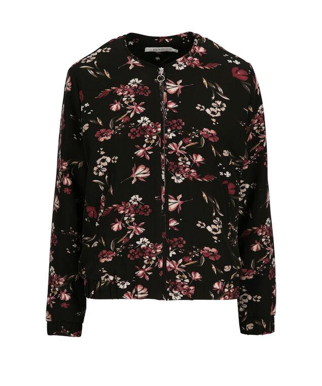Woven Floral Bomber Jacket, Black/Burgundy, hi-res