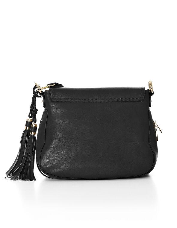 Black Tassel Crossbody Handbag, Black/Gold, hi-res