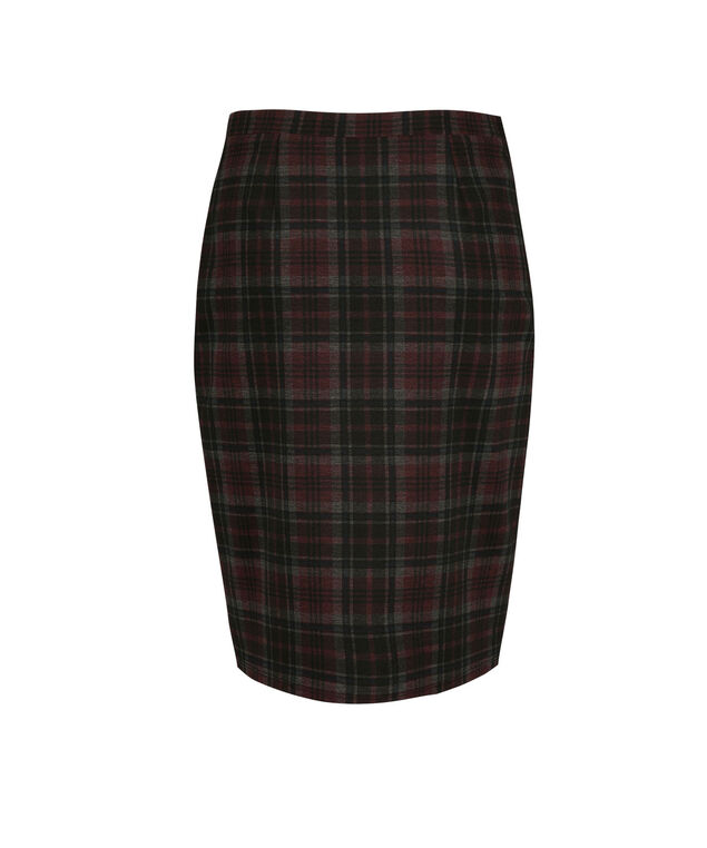 Ponte Plaid Pencil Skirt, Black/Burgundy, hi-res