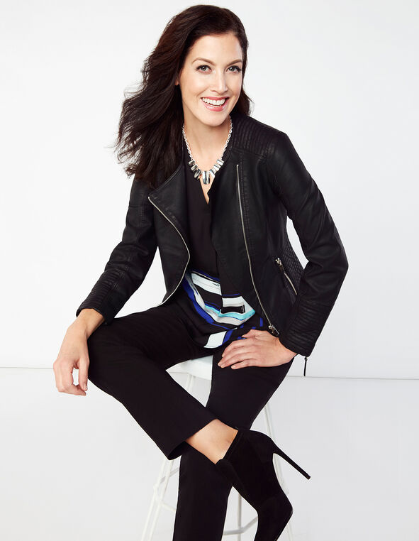 Asymmetrical Pleather Jacket, Black, hi-res