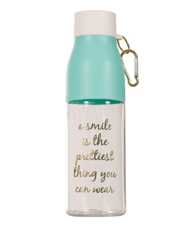 Smile Water Bottle, Blue/White/Gold, hi-res